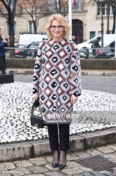 Evelina Khromchenko attends the Miu Miu show as part of the Paris Fashion Week Womenswear Fall Winter 2016/2017 on March 9 2016 in Paris France