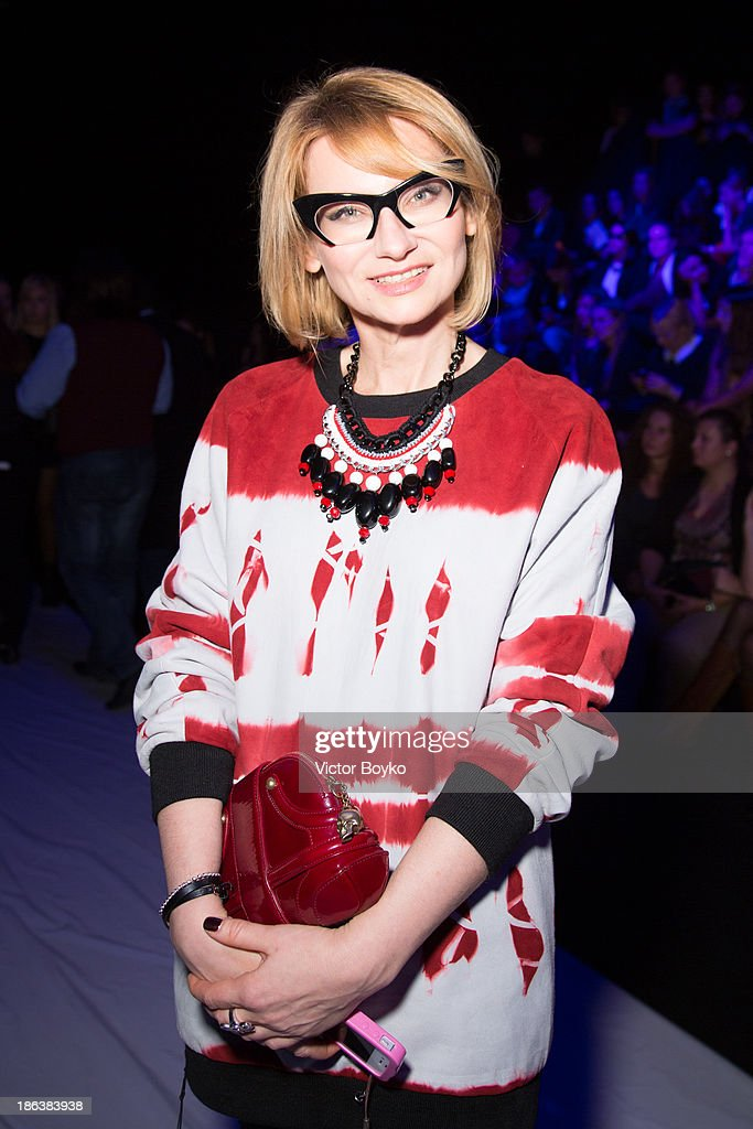 Evelina Khromtchenko attends the Ruban show on day 6 of Mercedes-Benz Fashion Week S/S 14 on October 30, 2013 in Moscow, Russia.