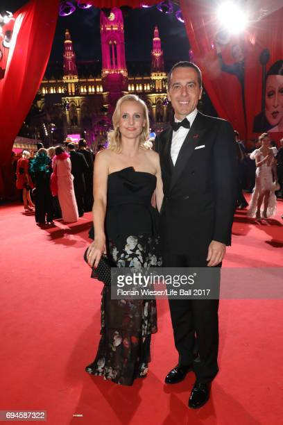 Eveline SteinbergerKern and Austrian chancellor Christian Kern arrive for the Life Ball 2017 at City Hall on June 10 2017 in Vienna Austria