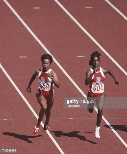 Evelyn Ashford and Gwen Torrence of the United States compete in the Women's 100 metres Semi Final event during the XXIV Summer Olympic Games on 25...