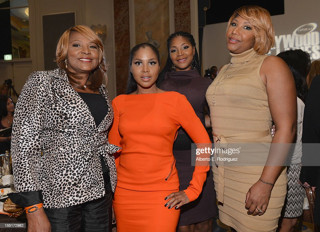 Evelyn Braxton, singer <a gi-track='captionPersonalityLinkClicked' href=/galleries/search?phrase=Toni+Braxton&family=editorial&specificpeople=213737 ng-click='$event.stopPropagation()'>Toni Braxton</a>, <a gi-track='captionPersonalityLinkClicked' href=/galleries/search?phrase=Trina+Braxton&family=editorial&specificpeople=5880827 ng-click='$event.stopPropagation()'>Trina Braxton</a> and Traci Braxton arrive to the Lupus LA 10th Anniversary Hollywood Bag Ladies Luncheon at Regent Beverly Wilshire Hotel on November 1, 2012 in Beverly Hills, California.