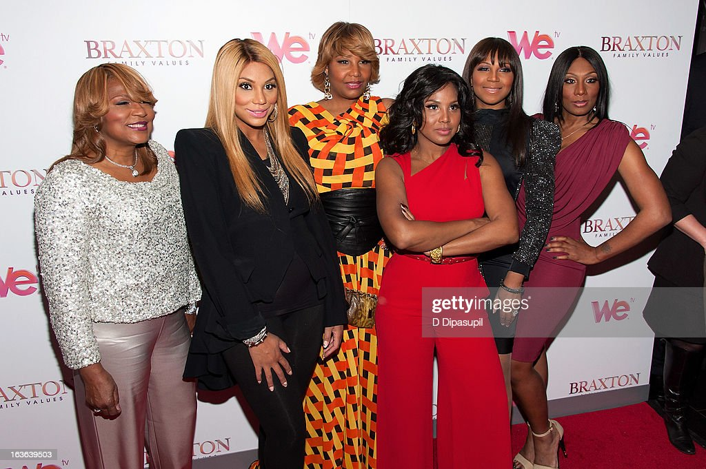 Evelyn Braxton, <a gi-track='captionPersonalityLinkClicked' href=/galleries/search?phrase=Tamar+Braxton&family=editorial&specificpeople=2079619 ng-click='$event.stopPropagation()'>Tamar Braxton</a>, Traci Braxton, <a gi-track='captionPersonalityLinkClicked' href=/galleries/search?phrase=Toni+Braxton&family=editorial&specificpeople=213737 ng-click='$event.stopPropagation()'>Toni Braxton</a>, <a gi-track='captionPersonalityLinkClicked' href=/galleries/search?phrase=Trina+Braxton&family=editorial&specificpeople=5880827 ng-click='$event.stopPropagation()'>Trina Braxton</a>, and Towanda Braxton attend the 'Braxton Family Values' Season Three premiere party at STK Rooftop on March 13, 2013 in New York City.