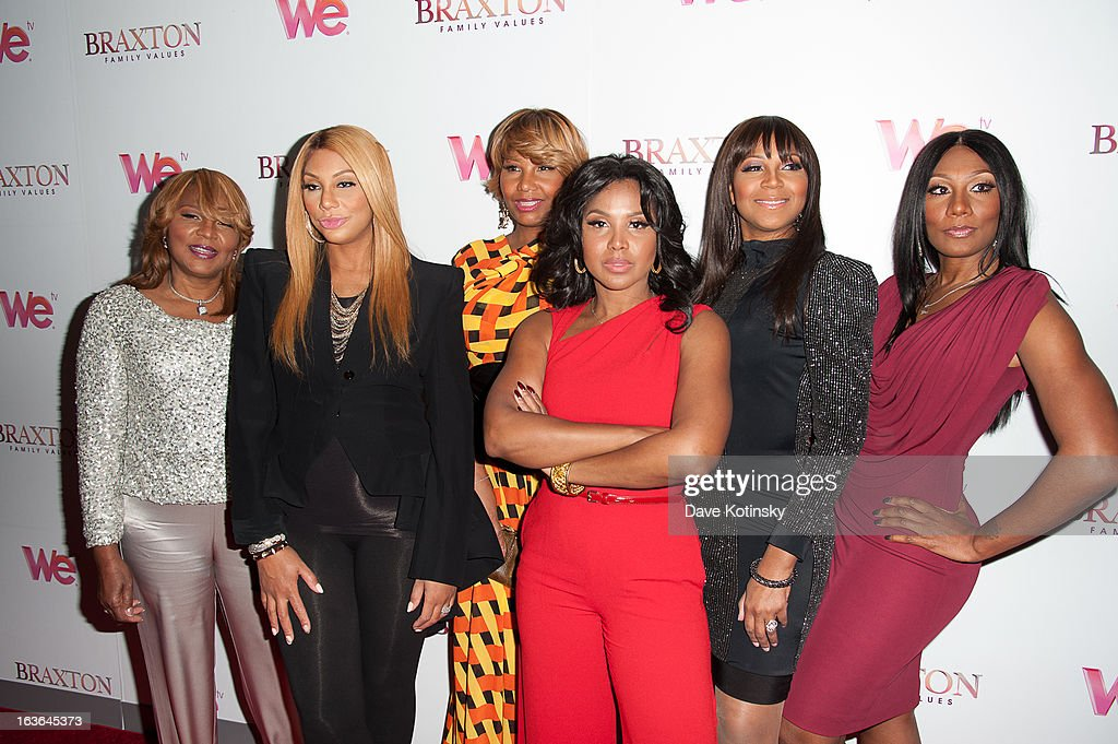 Evelyn Braxton, <a gi-track='captionPersonalityLinkClicked' href=/galleries/search?phrase=Tamar+Braxton&family=editorial&specificpeople=2079619 ng-click='$event.stopPropagation()'>Tamar Braxton</a>, Traci Braxton, <a gi-track='captionPersonalityLinkClicked' href=/galleries/search?phrase=Toni+Braxton&family=editorial&specificpeople=213737 ng-click='$event.stopPropagation()'>Toni Braxton</a>, <a gi-track='captionPersonalityLinkClicked' href=/galleries/search?phrase=Trina+Braxton&family=editorial&specificpeople=5880827 ng-click='$event.stopPropagation()'>Trina Braxton</a>, and Towanda Braxton attends the 'Braxton Family Values' Season Three premiere party at STK Rooftop on March 13, 2013 in New York City.