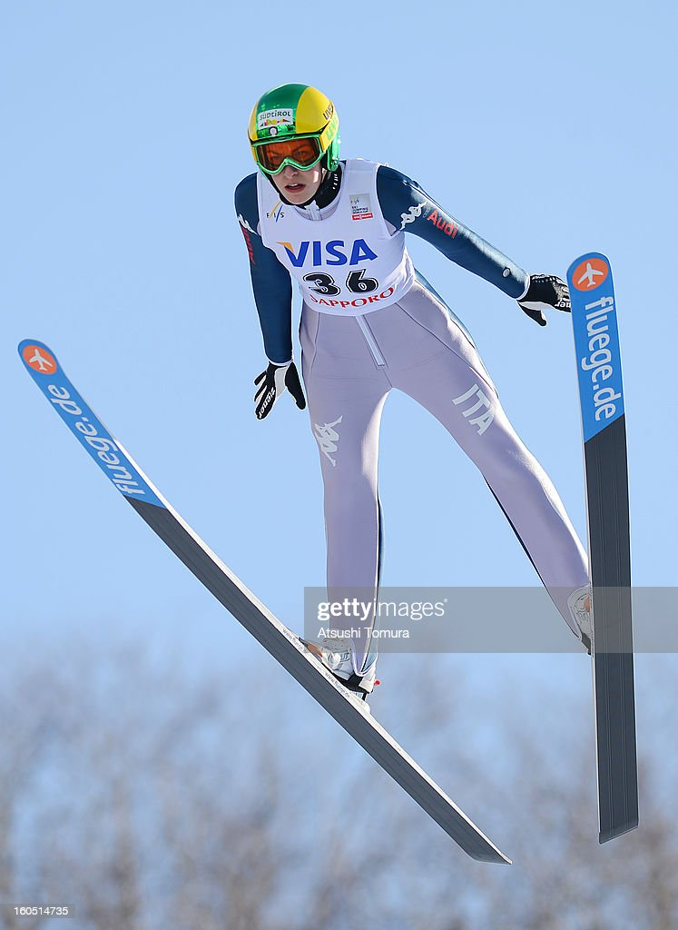 Evelyn Insam of Italy in action during day one of the FIS Women's Ski Jumping World Cup at Miyanomori Jump Stadium on February 2, 2013 in Sapporo, Japan.