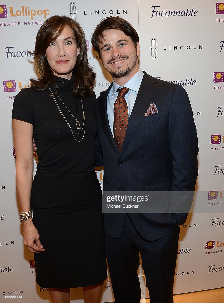 Evelyn Iocolano, of Lollipop, (L) and actor Jason Ritter attend the Faconnable Kicks Off The Holidays Shopping Event Benefitting Lollipop Theater Network at Faconnable on November 13, 2012 in Beverly Hills, California.