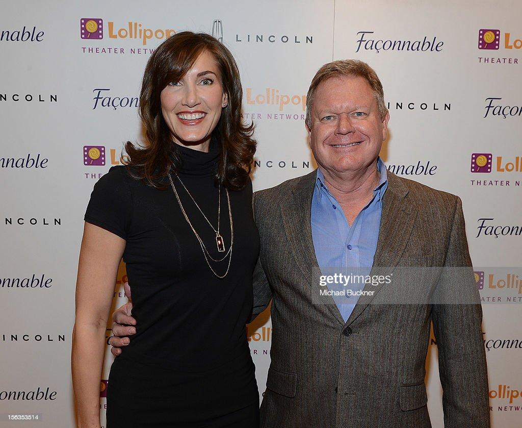 Evelyn Iocolano, of Lollipop, (L) and Brian Daly of Lincoln attend the Faconnable Kicks Off The Holidays Shopping Event Benefitting Lollipop Theater Network at Faconnable on November 13, 2012 in Beverly Hills, California.