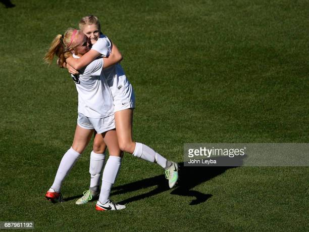 Evelyn Laryssa Hamblen celebrates her goal with D'Evelyn Shiloh Miller after scoring in the first half against Evergreen Sarah Straut GK during the...