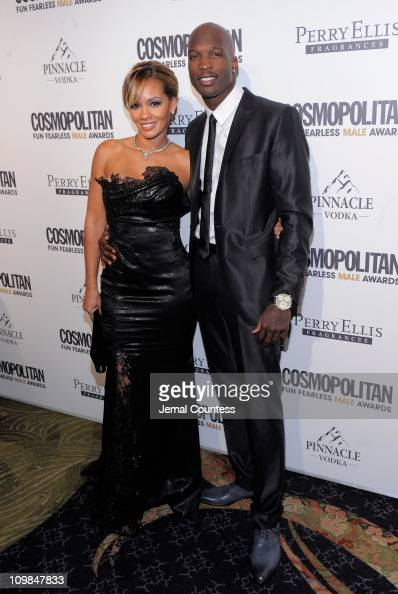 Evelyn Lozada and athlete Chad Ochocinco attend Cosmopolitan Magazine's Fun Fearless Males Of 2011 at The Mandarin Oriental Hotel on March 7 2011 in...