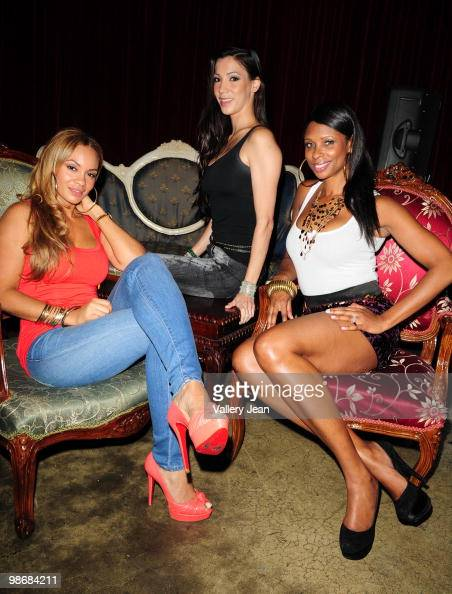 Evelyn Lozada Suzie Ketcham and Jennifer Williams attend VH1's Basketball Wives viewing party on April 25 2010 in Miami Beach Florida