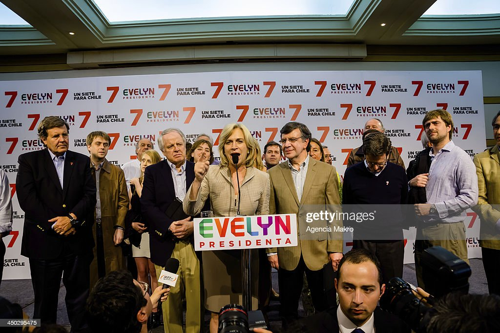 Evelyn Matthei during her speech after the results of the first round of elections for the presidency of Chile on November 17, 2013 in Santiago, Chile.