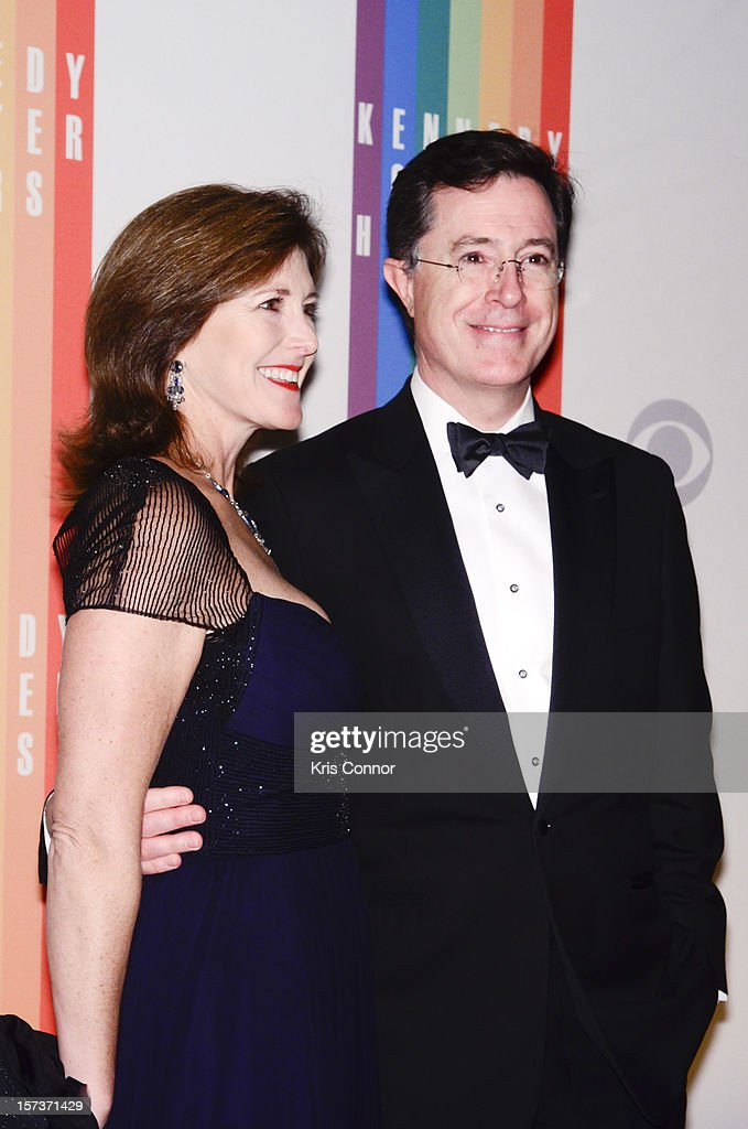 Evelyn McGee-Colbert and <a gi-track='captionPersonalityLinkClicked' href=/galleries/search?phrase=Stephen+Colbert&family=editorial&specificpeople=215133 ng-click='$event.stopPropagation()'>Stephen Colbert</a> pose for photographers during the 35th Kennedy Center Honors at the Kennedy Center Hall of States on December 2, 2012 in Washington, DC.