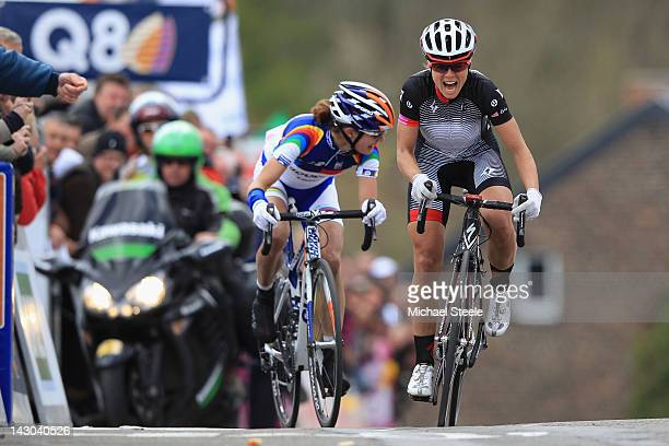 Evelyn Stevens of USA and Team Specialized Lululemon on her way to victory from Marianne Vos of Holland and Team Stichting Rabo during the women's...