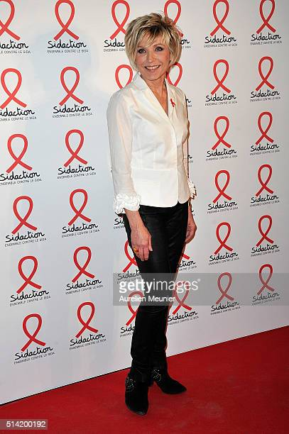 Evelyne Dheliat attends the Sidaction 2016 Launch party photocall at Musee du Quai Branly on March 7 2016 in Paris France
