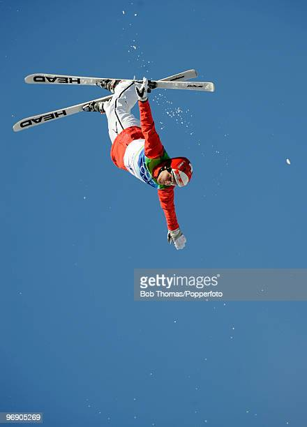 Evelyne Leu of Switzerland competes in the freestyle skiing ladies' aerials qualification on day 9 of the Vancouver 2010 Winter Olympics at Cypress...