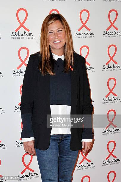 Evelyne Thomas attends the Sidaction 2016 Launch party photocall at Musee du Quai Branly on March 7 2016 in Paris France