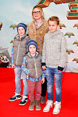EveMaren Buechner and kids attend the 'Kung Fu Panda 3' German Premiere at Zoo Palace on March 02 2016 in Berlin Germany