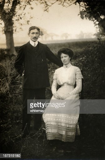 Even grandparents were young once - newlywed Edwardian couple