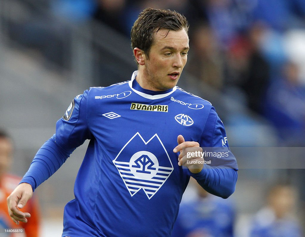 Even Hovland of Molde FK in action during the Norwegian Tippeligaen match between Molde FK and Aalesunds FK held on May 6 2012 at the Aker Stadion in...