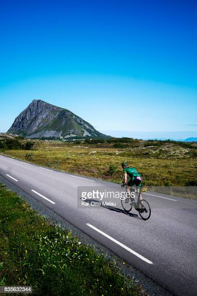 Even Nyhus on the bikeleg of The Arctic Triple // Lofoten Triathlon Extreme distance on August 19 2017 in Svolvar Norway Lofoten Triathlon is one of...