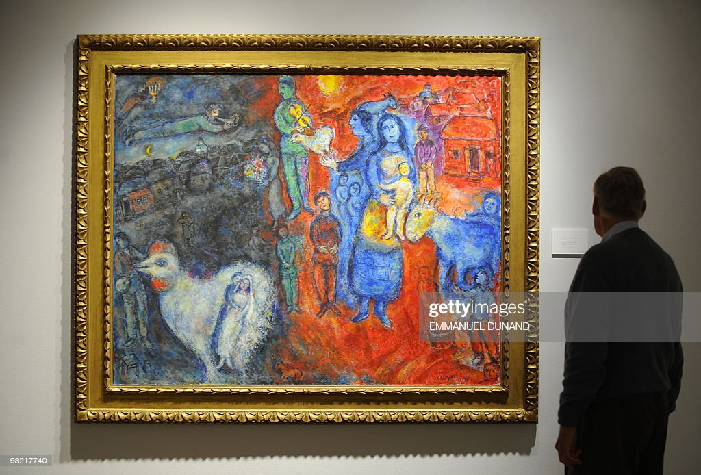 'L'evenement' by artist Marc Chagall is on display at Christie's during a press preview of their Impressionist and Modern Art Evening Sales in New York, May 01, 2009. The painting will go under the hammer with an estimate of 3-4 million USD on May 06, 2009. AFP PHOTO/Emmanuel Dunand