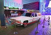 Evening 3/4 View of the 'Ghostbusters' Cadillac Fleetwood Station Wagon at AMC Universal City Walk on July 14 2016 in Universal City California