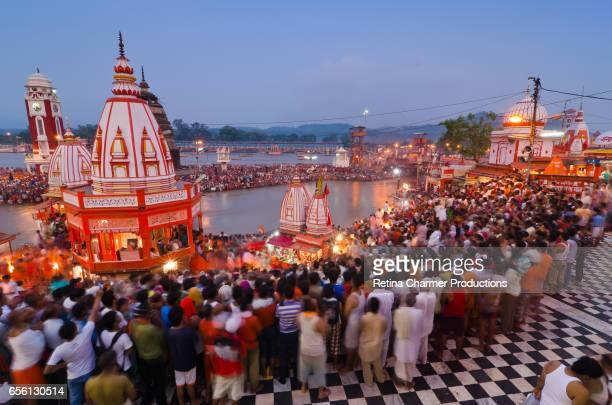 Evening Aarti View Of Ganga Ghat Haridwar, Uttarakhand, India
