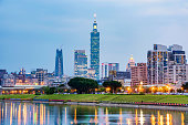 Cityscape of downtown Taipei and riverisde