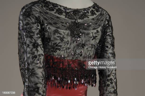 Evening dress and jacket ca 1955 Silk faille and net glass beads sequins by Cristobal Balenciaga