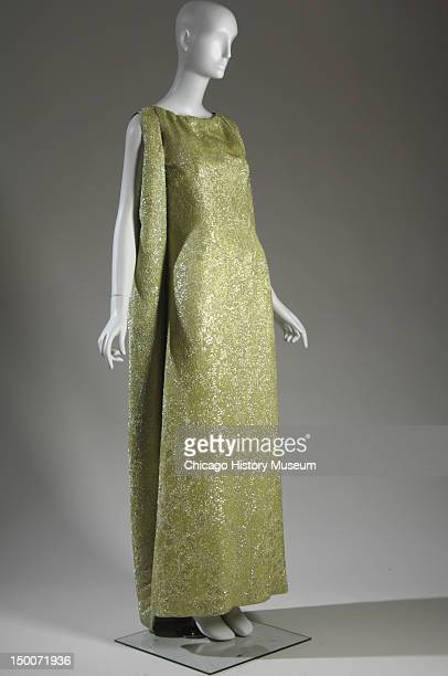 Evening dress and vest 1966 Rayon with lame weave by Cristobal Balenciaga