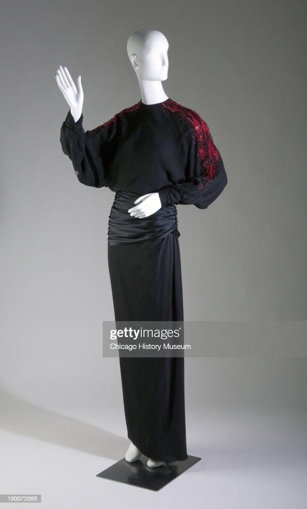 Evening dress ca 1973 Silk crepe and satin sequin glass bead by James Galanos worn by ballerina Maria Tallchief