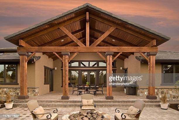 Evening exterior of home and deck