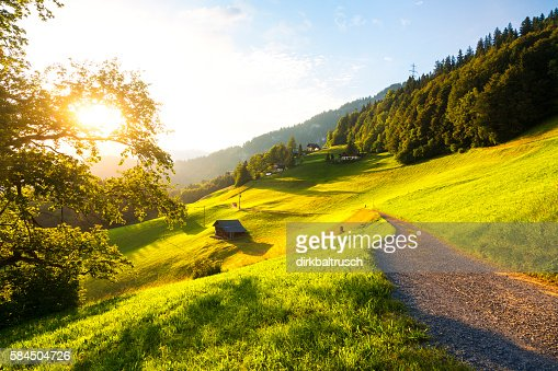 evening hour atmosphere in the swiss alps