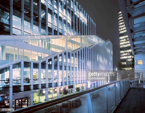 Evening image of illuminated offices in Amsterdam