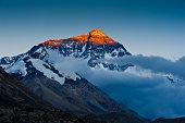Evening light cast on top of mount Everest