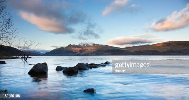 Evening light on Ben Lomond with clouds in the sky