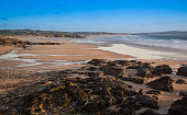 Evening light on the beach by Godrevy Lighthouse, Cornwall, UK