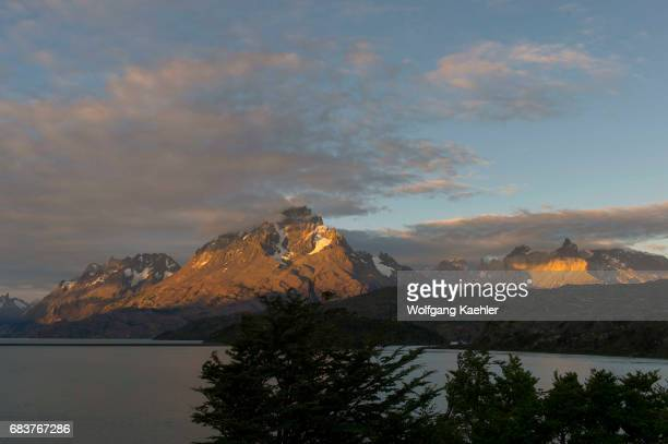 Evening light on the mountains in Torres del Paine National Park in southern Chile