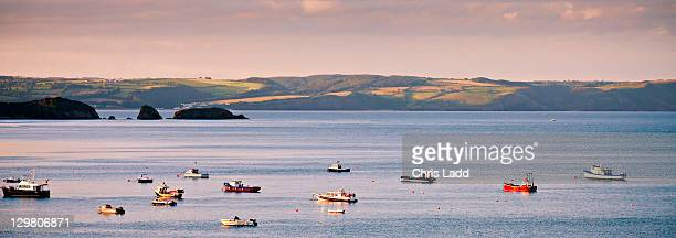 Evening light over Carmarthen Bay Tenby Pembrokeshire Wales