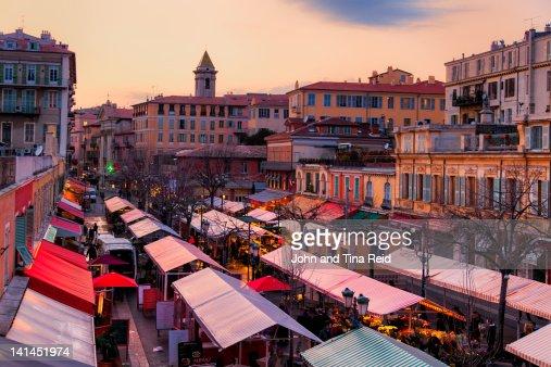 Evening light over flower market