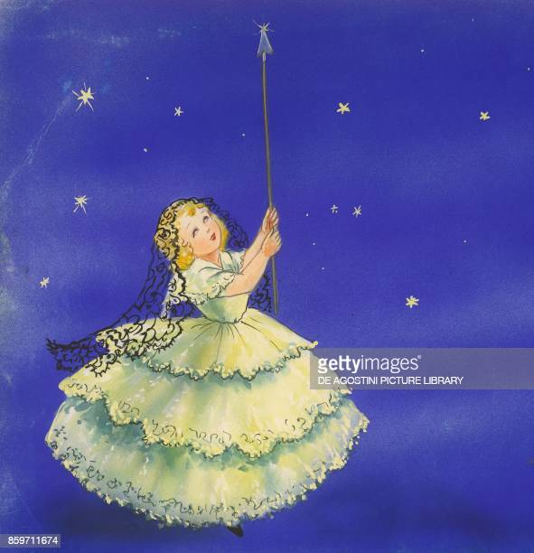 Evening lighting up stars in the sky children's illustration drawing