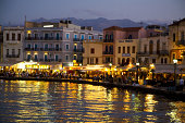 Evening Lights Old Town Chania Crete