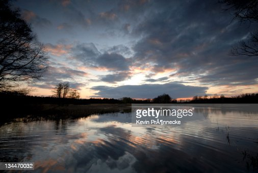 Evening mood at a carp pond in the heath and pond region of Upper Lusatia, Saxony, Germany, Europe