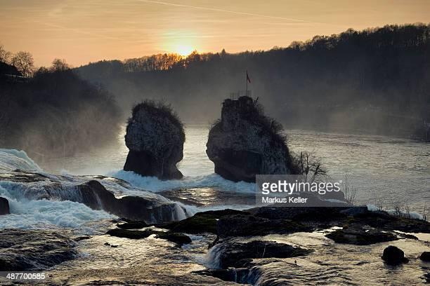 Evening mood at the Rhine Falls with the Schaufelsen rock, right, Canton of Schaffhausen, Switzerland
