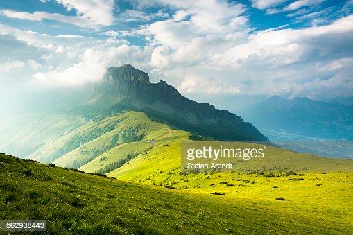 Evening mood with storm clouds, Alvier, Gonzen, Canton of St. Gallen, Switzerland