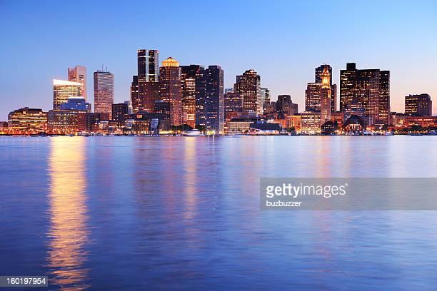 Evening on Illuminated Boston City