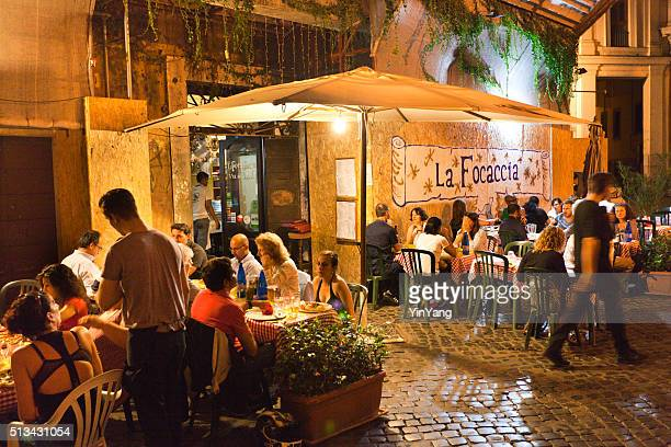 Evening Outdoor Street Restaurants Night Life of Rome
