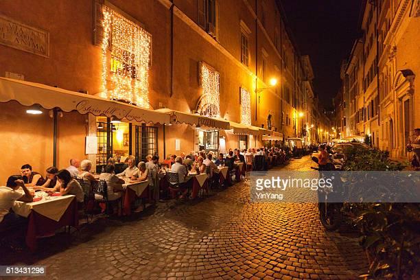 Evening Outdoor Street Restaurants Night Life of Rome