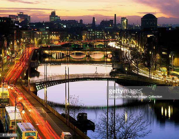 Evening over River Liffey towards Four Courts, Dublin, Ireland