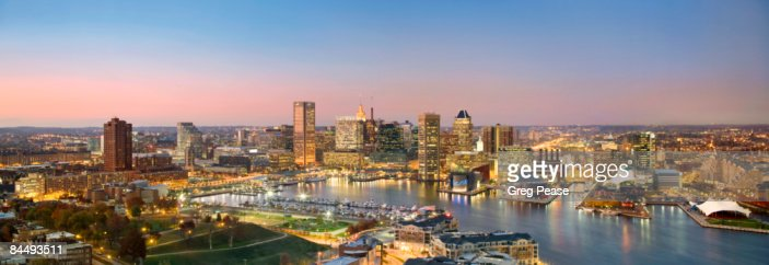 Evening Panoramic of the Baltimore Skyline : Stock Photo
