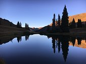 Sunset lights up mountains in Colorado high country